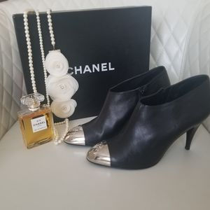 Chanel Black Booties With Silver Toe with Logo